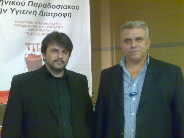 """Ο κ. Χουστουλάκης με τόν Πρόεδρο Λιανοπωλητών Κρεοπωλών Αττικής """" Οι Ταξιάρχες"""""""